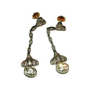 Antique drop diamond earrings with European cut diamonds.