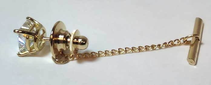 diamond earring with tie-tack