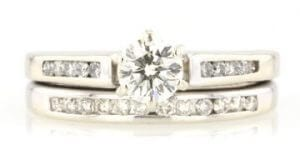 Diamond engagement ring and bridal set sold on worthy.com