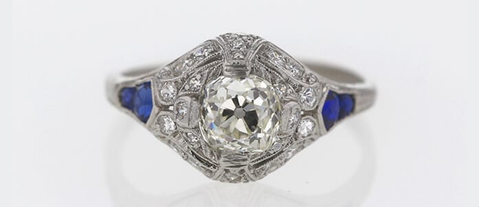 Diamond and Blue Sapphire Antique Engagement Ring Auctioned at Worthy for $2,070