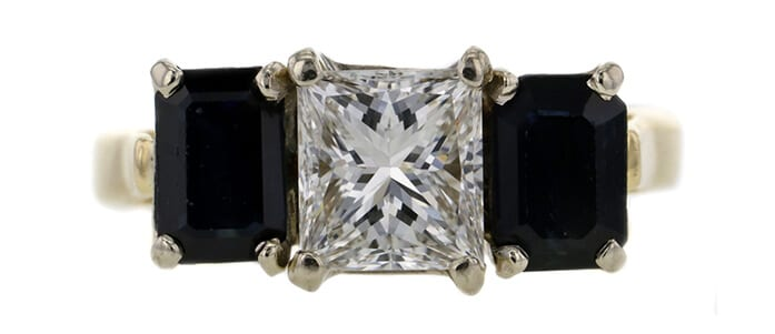 Diamond and sapphire 3 stone engagement ring auctioned at Worthy for $2,385.