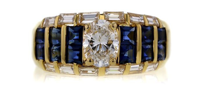 Diamond and blue sapphires engagement ring auctioned at Worthy for $1,682.