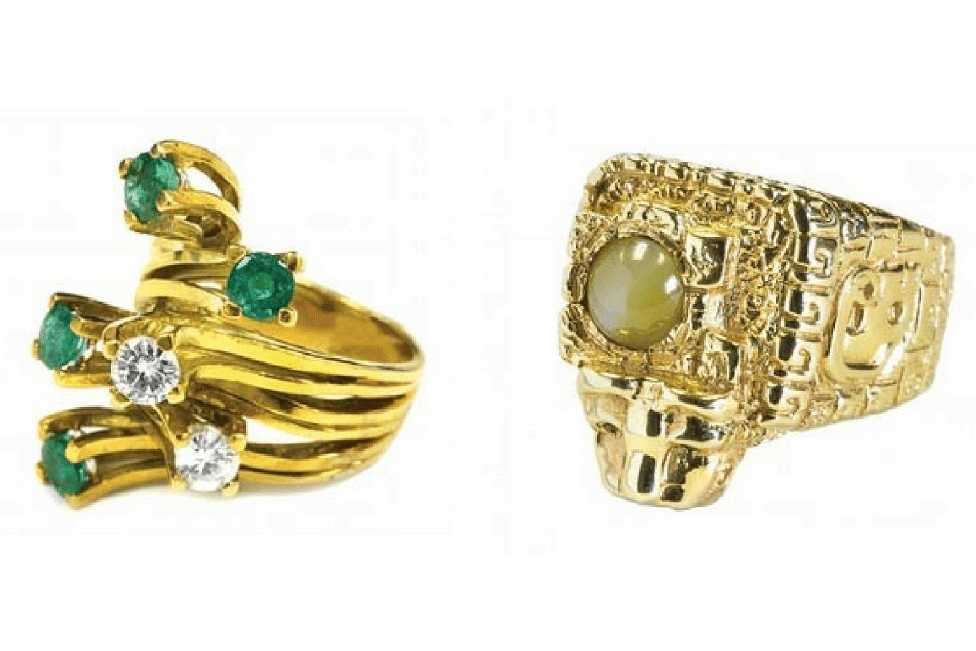 "Left – Emerald and diamond ring given to Presley's girlfriend Linda Thompson sold for $5,000. Right – Elvis Presley ""Aztec"" ring with jaguar head. Estimate $10,000 – $15,000. It sold for $13,000"