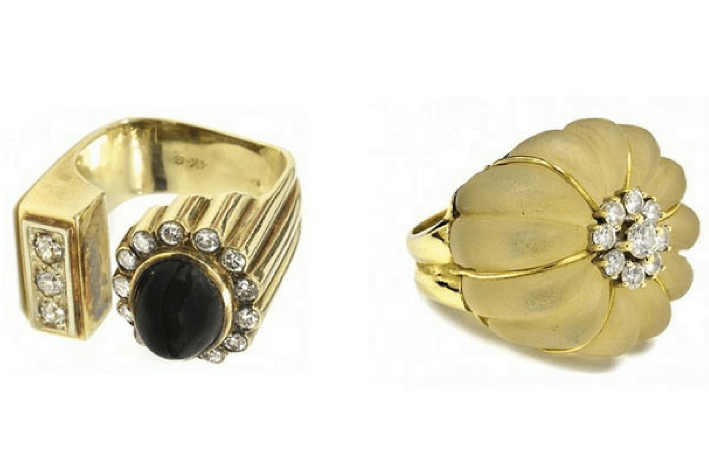 "Left – 1969/70 Elvis Presley's gold, diamond and black sapphire ring – The ""Number 10″ ring. Estimate $10,000 – $15,000. It sold for $12,000. Right -Gold, diamond and rock crystal quartz ring given by Presley's to his girlfriend Linda Thompson sold for $7,000."