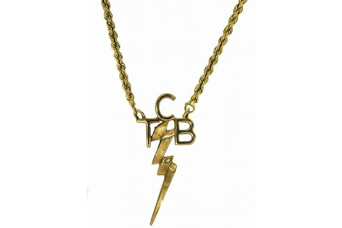 "Elvis Presley 14k ""TCB"" necklace gifted to bodyguard Sam Thompson. Estimate $12,000 - $15,000. It sold for $9,500."