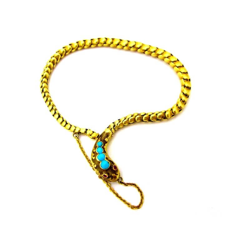 Gray and Davis 15K snake bracelet with turquoise head and ruby eyes. http://www.grayanddavis.com