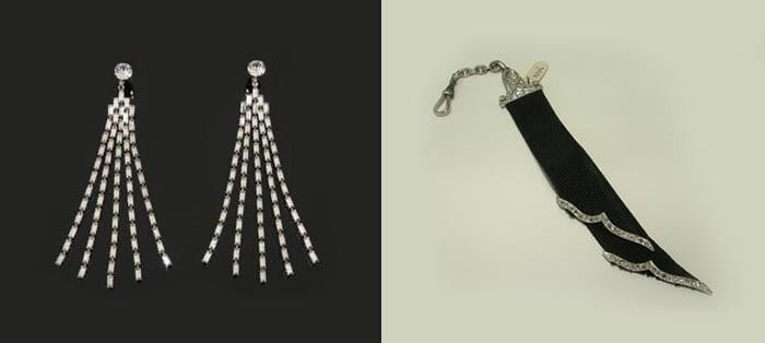The rhinestone earrings (left) Marilyn Monroe wore to the 1955 premiere of The Rose Tattoo sold for $185,000 at Julien's Auctions Hollywood Legends sale in 2014. Art Deco Mourning Ribbon (right) auctioned at Worthy for $1,170