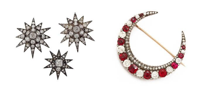 Left: Diamond stars from Macklowe Gallery, source: http://www.macklowegallery.com. Right: Crescent moon brooch from A La Vieille Russie. source: http://www.alvr.com