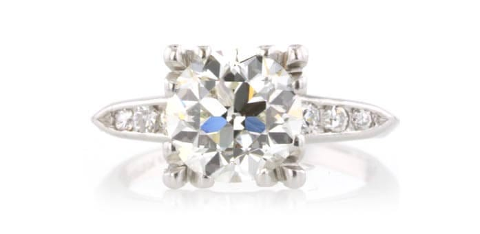 2.2 euro cut diamond ring