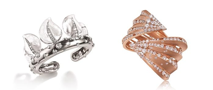Left: Belperron Leaf Coronet Cuff,  Right: Alexandre Reza Dune Bangle