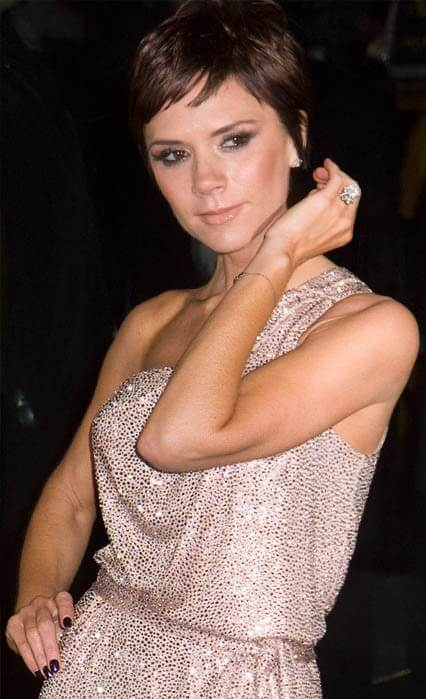 Victoria Beckham wearing one of her many engagement rings. Credit: PR Photos.