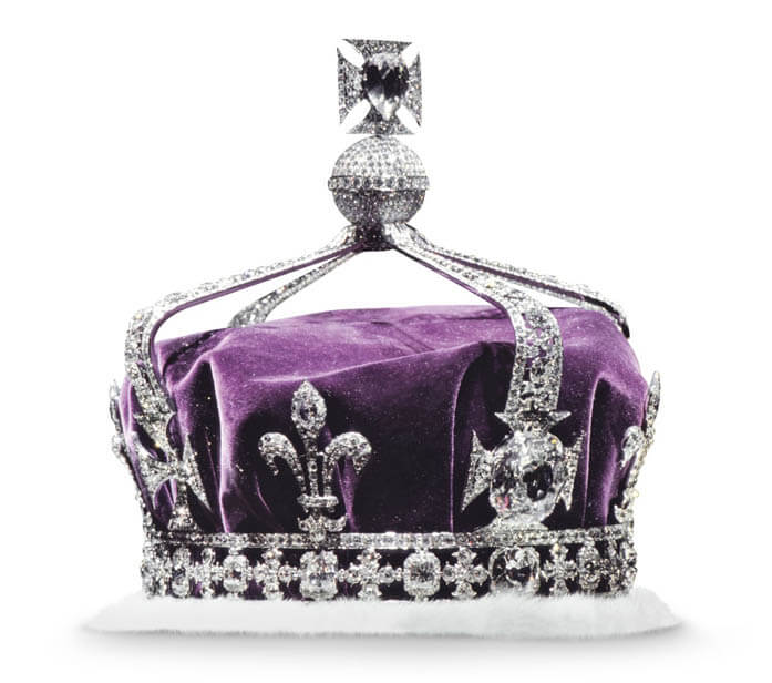 The Koh-I-Noor diamond is set in the crown of Queen Elizabeth.