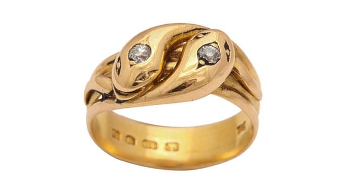 Glorious Antique Jewelry's double headed snake ring means eternal love.
