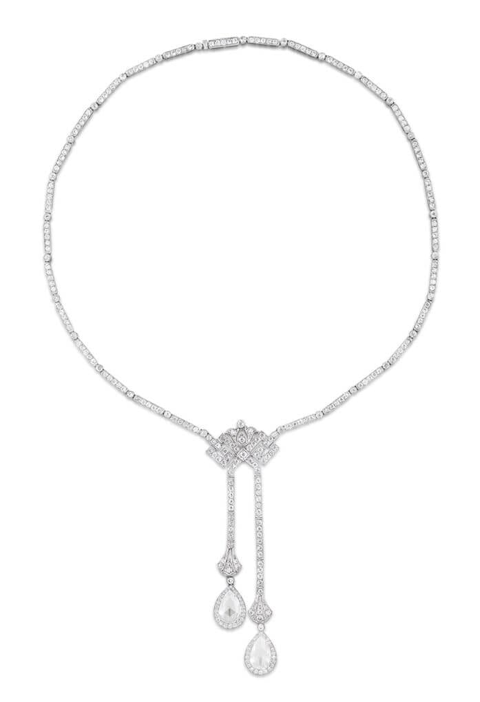 Negligee necklace in platinum with natural pearls by Stephen Russell.