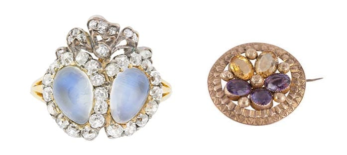 "Left: Bentley & Skinner's Victorian moonstone and mine-cut diamond double heart ring with bow on top symbolizes two hearts tied together in love. Right: The Spare Room's Language of Love Pansy Brooch means ""think of me."""