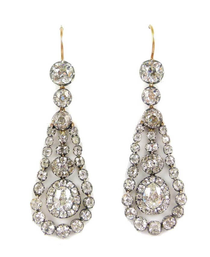 Early 19th century diamond pendant earrings from S.J. Philips.