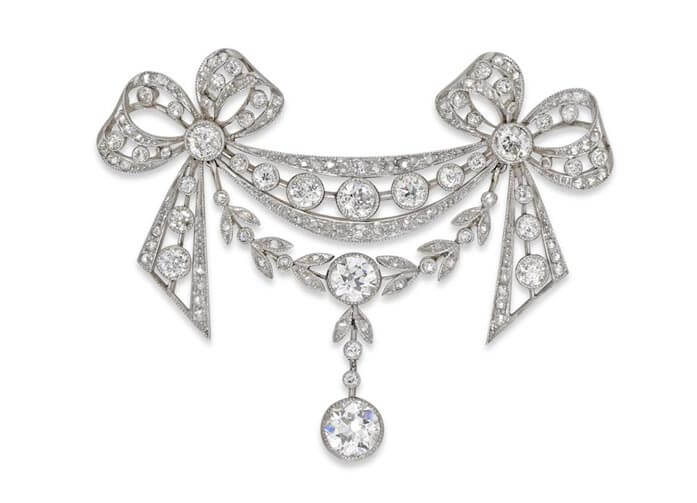 Edwardian diamond and natural pearl brooch from Bentley & Skinner.