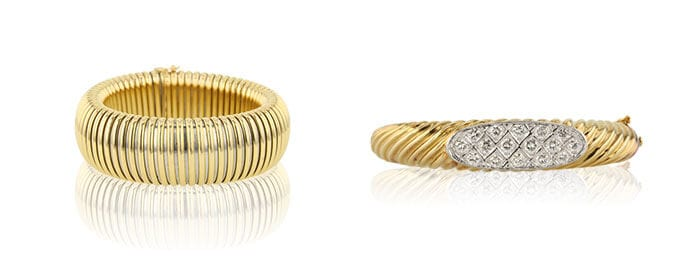 Left: Bangle Cartier Bracelet sold at Worthy. Right: Round Cut Diamond Bangle Bracelet sold at Worthy.