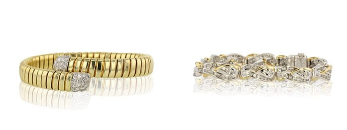 Left: Round Cut Bangle Cartier Bracelet sold at Worthy. Right: Round Cut Tennis Bracelet sold at Worthy.