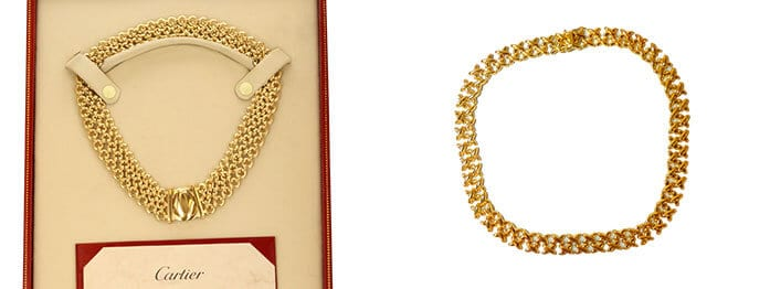 Left: Choker Cartier Necklace auctioned at Worthy. Right: Gold Collar Necklace auctioned at Worthy.