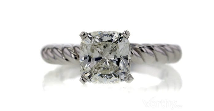 GIA 2.03 CT Cushion Cut Solitaire Ring sold at Worthy for $8,236