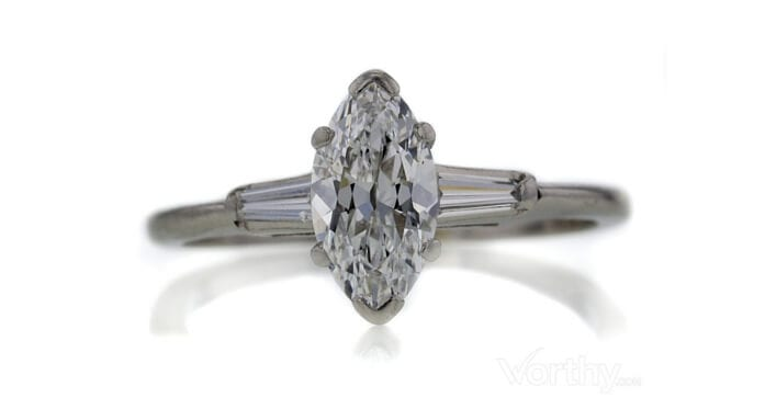 GIA 1.04 CT Marquise Cut Bridal Set Ring sold at Worthy for $3,717.