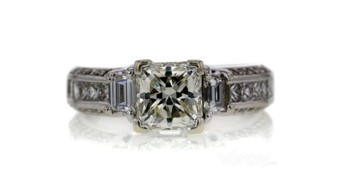 GIA 1.82 CT Radiant Cut Bridal Set Ring sold at Worthy for $3,448.
