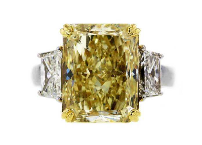 GIA 10.01 CT Radiant Cut 3 Stone Ring Auctioned at Worthy for $78,185.