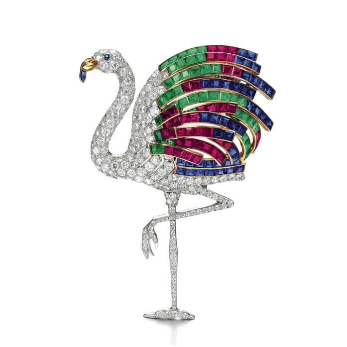 Ruby, sapphire, emerald, citrine and diamond flamingo clip. Photo courtesy of Sotheby's.