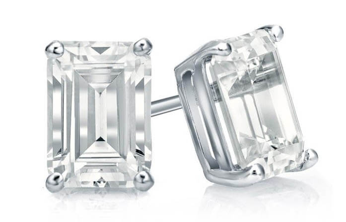 Emerald-cut Diamond Studs.
