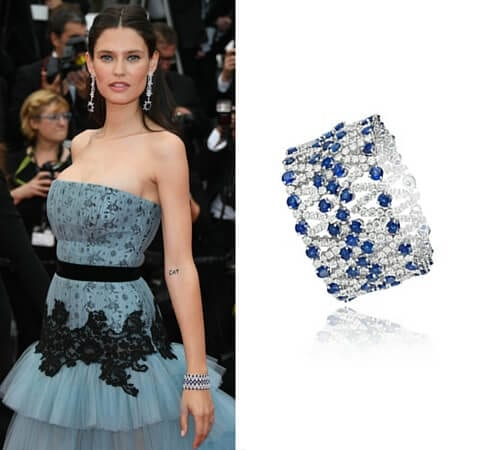 Left: Bianca Balti in Chopard, May 11, 2016. Right: Chopard bracelet in 18k white gold set with sapphires and diamonds.