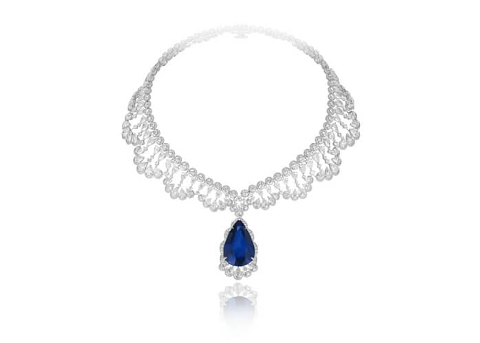Chopard necklace in 18k white gold featuring a 60-carat pear-shaped sapphire and diamonds.