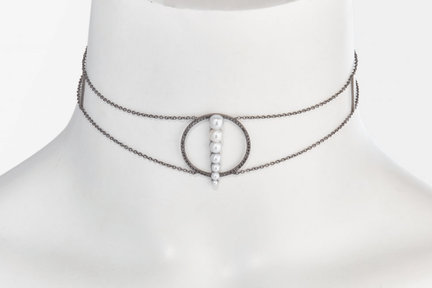 Anissa Kermiche chocker with black rhodium plated silver, black diamonds and freshwater pearls.