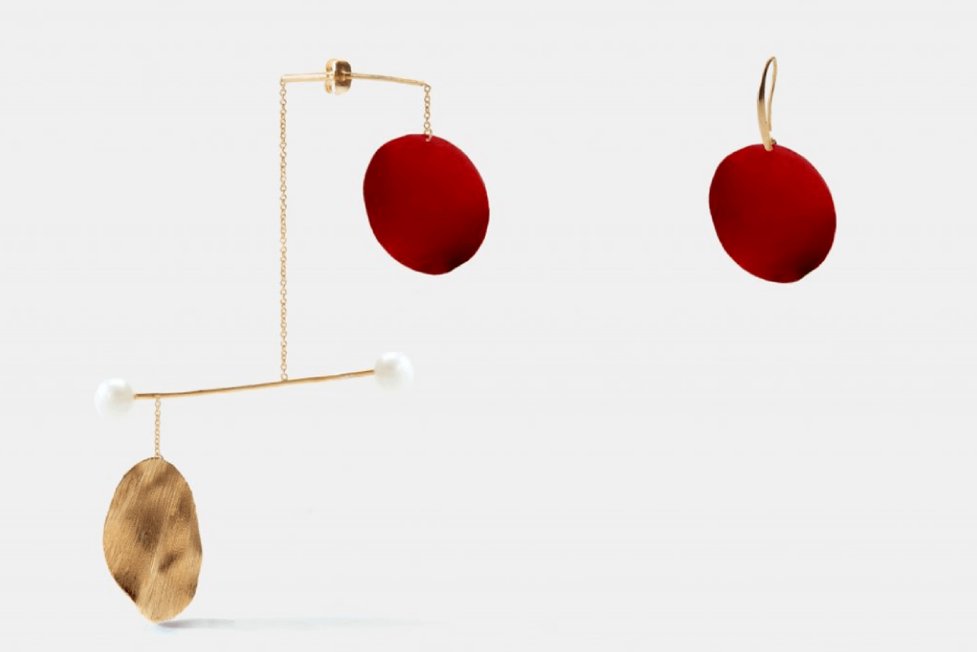 Anissa Kermiche earrings in collaboration with Rejina Pyo. 18k yellow gold plated brass, freshwater pearls, red enamel.