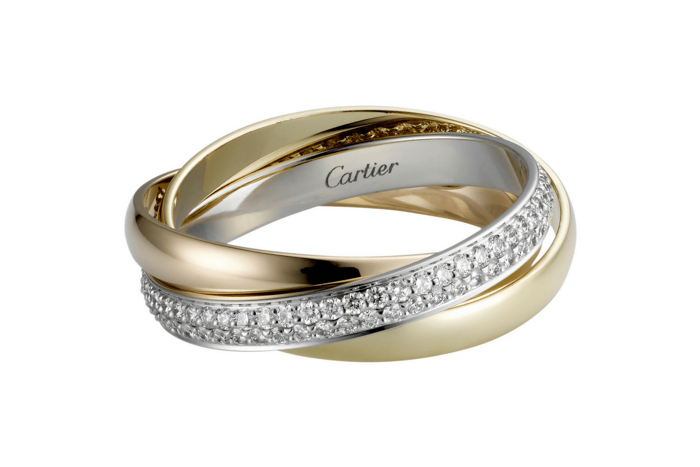 Trinity de Cartier ring, white gold, pink gold, yellow gold, set with 102 brilliant-cut diamonds.