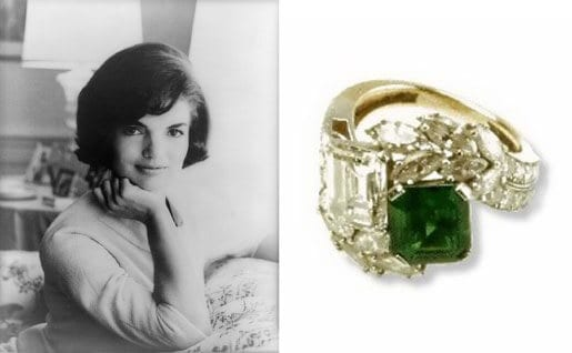 Jacqueline Kennedy's Van Cleef & Arpels diamond and emerald engagement ring