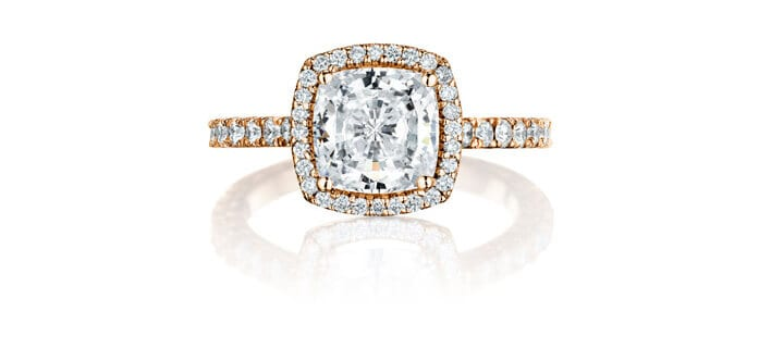 Penny Preville cushion cut halo ring.