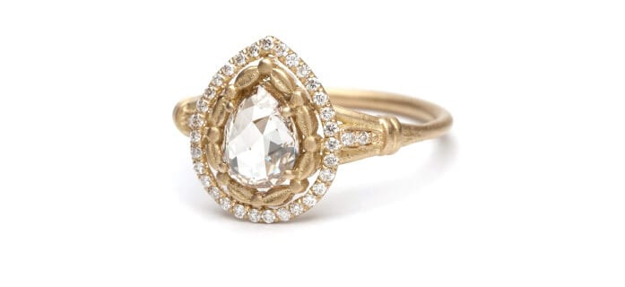 Sofia Kaman pear-shape rose cut diamond ring.