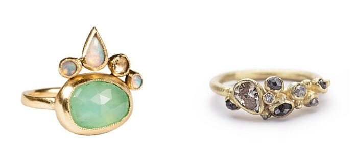 Left: Isobel Ring, $2,487, from http://katiediamondjewelry.com/. Right: Diamond Cluster Ring with Faceted Pear, £3,200.00, from: http://ruthtomlinson.com/