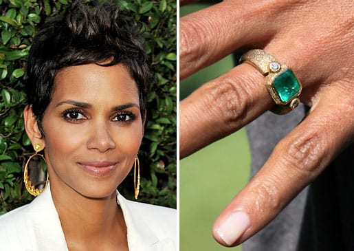 Halle Berry's emerald engagement ring.