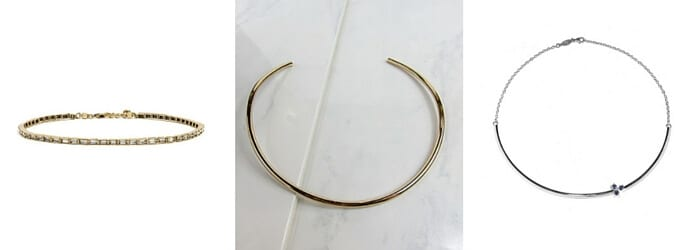 Left: Carat Choker, $68, from https://www.baublebar.com/. Center: Americana Choker, $100, from http://julessmithdesigns.com/. Right: Trio Choker, $250, from http://www.pamelalove.com/.