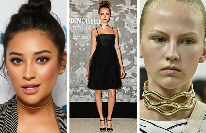 Left: Shay Mitchell. Photo Courtesy of: Getty / Taylor Hill. Center: Cara Delevigne. Source: http://www.harpersbazaar.com/. Right: Choker by J.W. Anderson. Source: http://www.vogue.com/.