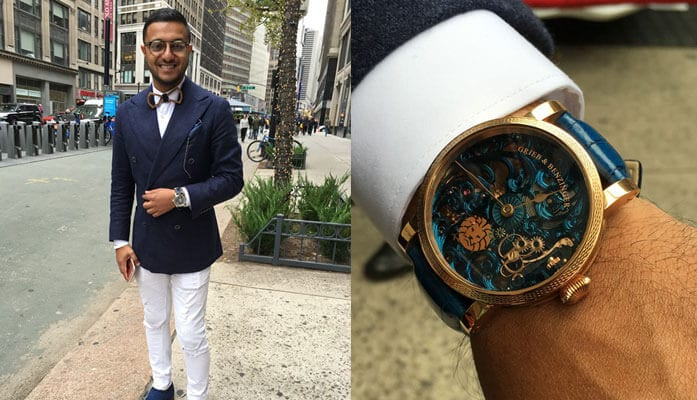Left: Anish Bhatt, better known as Watch Anish. Right: Anish's custom Greib & Benzinger watch