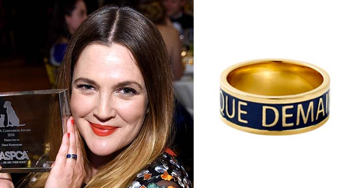 Left: Drew Barrymore holding her award at the ASPCA's 19th annual Bergh Ball. Source: E! Online. Right: Gold and blue enamel ring designed by Allison Lou. Available at: Broken English.
