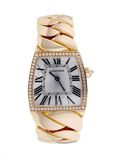 Cartier WE601007 La Doña sold at auction for $11,070. Photo credit: Worthy.com