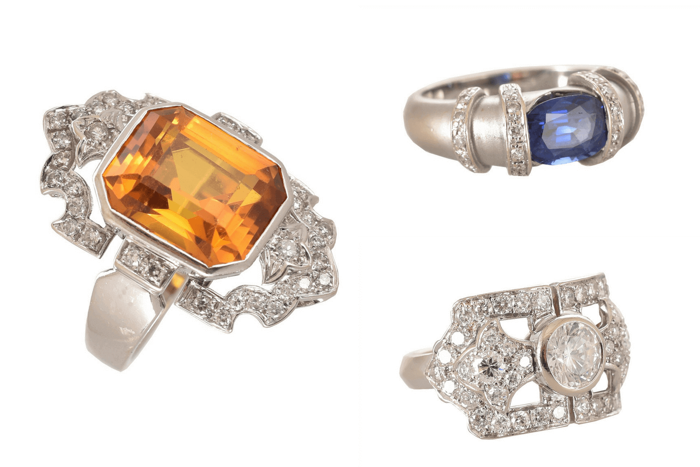 Clockwise from left: Imperial Topaz Ring, Deco Ring and Sapphire Ring. Photos courtesy of Percossi Papi.