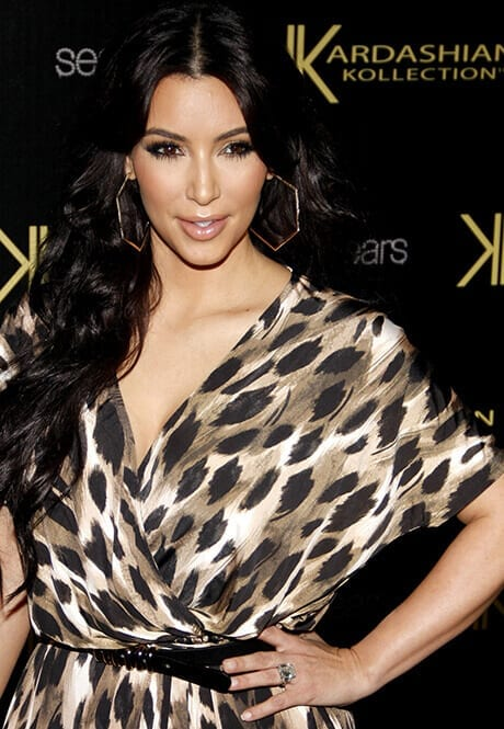 Kim Kardashian wearing the engagement ring from Kris Humphries that he later sold for $750,000. Credit: PR Photos.