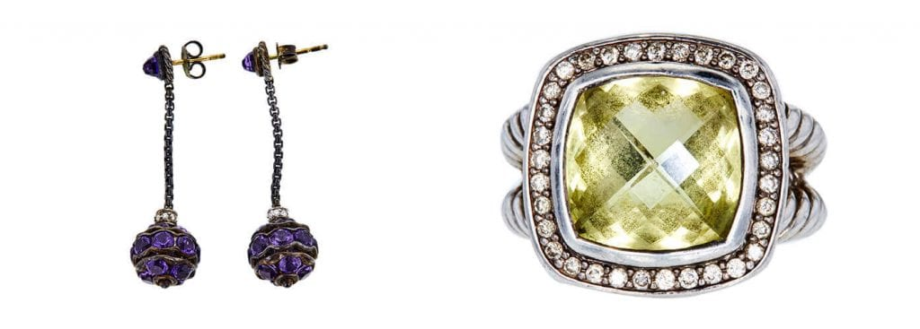 Left: David Yurman Amethyst and Diamond Earrings. Right: David Yurman 5.01 CT Citrine Halo Ring. Photo credit: Worthy.