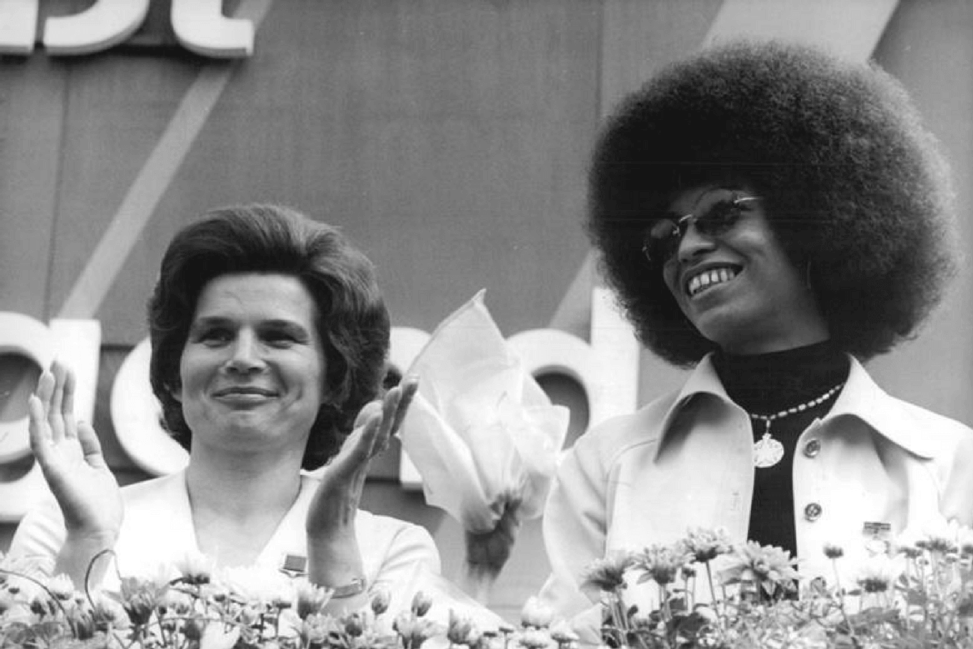 Angela Davis helped launch the rise of the afro. Here she is pictured with Russian astronaut Valentina Tereshkova in 1973.