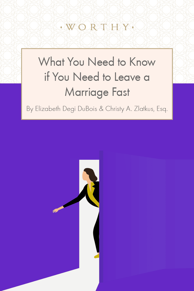 If you are in a situation where you need to leave a marriage fast, it's vital that you know what to do, to bring, and what the legal repercussions may be.